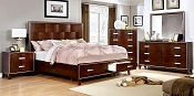 Brown Cherry Finished Bed Set