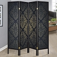 Four Panel Folding Screen with Black Finish and Gold Print