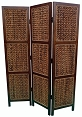 Three Panel Folding Screen with Woven Banana Leaf Panels