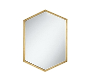 Hexagon Shaped Mirror With Gold Frame