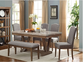 5 Pcs Cappuccino Wood Finish Dining Table Set  with Bench