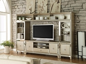 4 pc Voeville collection antique gold and mirrored accents entertainment center wall unit
