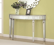 Oval Mirrored Console Cabinet Table