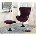 Modern Flannelette Accent Chair with Ottoman