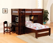 All-in-one Wooden  Twin Loft Bed with Desk- cherry and oak