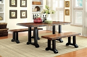 3 Pcs Transitional Style Tobacco Oak Finish