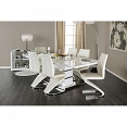7 Pcs White Contemporary Dining