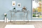 Chrome Metal and Glass Sofa Table