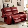 Red Transitional Style Recliner Love Seat