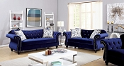 Blue Flannelette Fabric Sofa Set