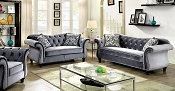 Grey Flannelette Fabric Sofa Set