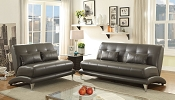 2 Pcs Grey Leatherette Sofa Set