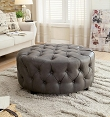 Gray Tufted Bonded Leather Circle Ottoman