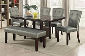 6 Pcs Faux Marble Dining with Bench