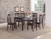 7 Pcs Solid Wood Espresso Dining Set