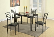 5 Pcs Faux Marble Top Metal Table Set
