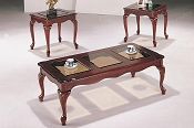 3 Pcs Cherry Finish Coffee Table Set with Glass