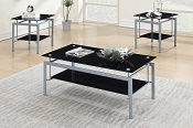 3 Pcs Tempered Glass Coffee Table Set