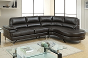 2 Pcs  Breathable Leatherette Sectional- Brown or Grey
