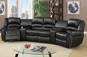 5 Pcs Reclining Home Theater Black Sectional