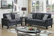 2 Pcs Blue Grey Linen like Sofa Set