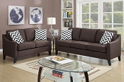 2 Pcs Chocolate Linen like Sofa Set