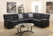 Black Leatherette Sectional