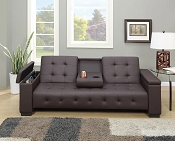 Espresso Finish Adjustable Sofa with Arm Console