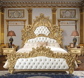 Gold Finish Luxury King Bed Frame