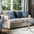 Beige/Velvet Contemporary Loveseat