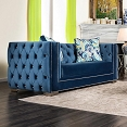 Lapis Blue Modern Victorian Style Love Seat