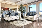 2 Pcs Chantal with  Premium Velvet Fabric  Sofa Set Beige w/ Blue Pillows