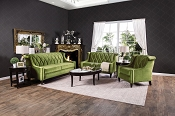 2 Pcs Green Contemporary Velvet Sofa Set