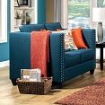 Turquoise Blue Contemporary Love Seat