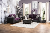 2 Pcs Contemporary Purple and Black Sofa Set
