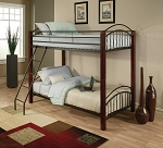 Cherry Post with Metal Twin Twin Bunk Bed
