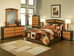 5 Piece Espresso and Cherry Finish Queen Panel Bed Set