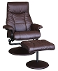 2 piece Espresso Faux Leather Chair and Ottoman
