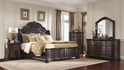 Queen Burnish Traditional  Cappuccino Bed Frame