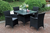 5 Pcs Black Patio Table Set