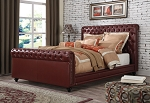 Burgundy Leather Upholstered Queen Bed Frame