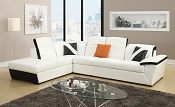 White and Black Bonded Leather Sectional Sofa Set