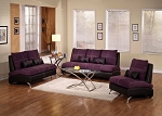 2 Piece Purple Suede Sofa Set