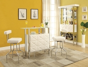 3 Piece White Modern Bar Set