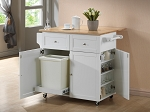 Contemporary White Finish Kitchen Cart