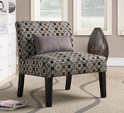 Grey, Black, and Red Accent Chair