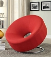 Red Linen Contemporary Chair