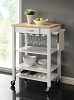 Contemporary Wooden Kitchen Cart White and Natural