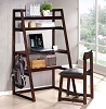Espresso Finish Contemporary Computer Stand with Chair
