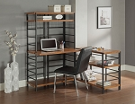 Metal Gray Finish Desks with Adjustable Shelf